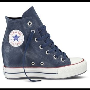 Converse All Star Blue Hi Top Wedge Sneakers